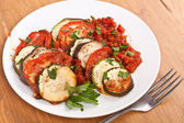 Baked vegetables with tomato sauce — Stock Photo