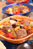 Soup with vegetables and red kidney beans — Stock Photo
