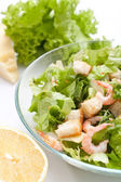 Traditional caesar salad with shrimp — Stock Photo