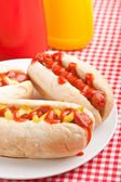 Group of hot dogs,  on checked table-cloth table — Stock Photo