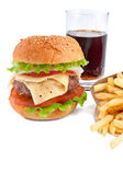 Cheeseburger, french fries and cola — Stock Photo