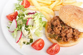 Sloppy Joe minced meat sandwich with french fries and salad — Stock Photo