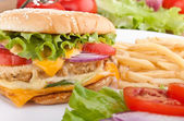 Delicious chicken cheeseburger with melted cheddar cheese, frenc — Stock Photo