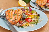 Trout with roast vegetables and couscous — Stok fotoğraf