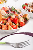 Bowl of Panzanella bread salad — Stock Photo