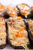 Stuffed with cheese and mushrooms aubergines — Stock Photo