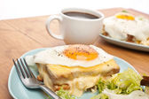 Croque Madame (Ham, Cheese and Egg Sandwich) — Stock Photo