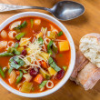 Minestrone Soup with Pasta, Beans and Vegetables — Stock Photo #42000069