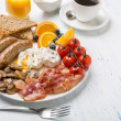 Full English Breakfast with Poached Eggs — Stock Photo #42000293