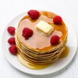 American Pancakes with Raspberries — Stock Photo #42000363