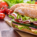 Постер, плакат: Long Baguette Sandwich with lettuce