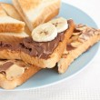 Chocolate and peanut buttered toasts — Stock Photo