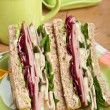 Club sandwiches with meat and vegetables — Stock Photo #42003879