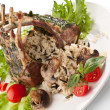Barbecue ribs on a plate with vegetables — Stock Photo #42008101