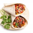 Wrapped tortilla stuffed with beef chili and grated swiss cheese — Stock Photo