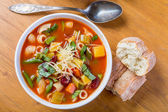 Minestrone Soup with Pasta, Beans and Vegetables — Stock Photo