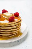American Pancakes with Raspberries — Stock Photo