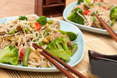 Warm chinese salad with cellophane noodles — Stock Photo