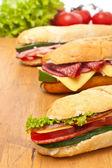 Group of long baguette sandwiches — Foto de Stock