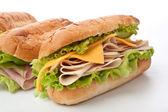 Tasty honey roasted ham and cheese sandwich — Stock Photo