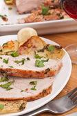 Boneless Pork Loin Roast with Herbed Pepper Rub — Stock Photo