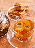 Tea with waffles — Stock Photo
