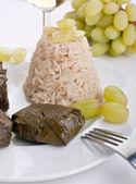 Stuffed grape leaves with rice — Stock Photo