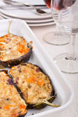 Stuffed with cheese aubergines — Stock Photo