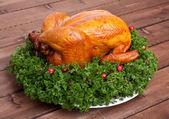 Christmas roasted chicken — Stock Photo