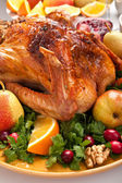 Holiday roasted turkey — Stock Photo