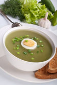 Spinach cream soup with vegetables — Stock Photo