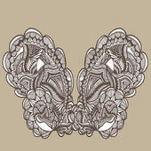 Vintage butterfly lace — Stock Vector