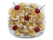 Sundae dessert  banana - frozen cherries — Stock Photo