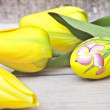 Easter- yellow tulips- yellow egg — Stock Photo