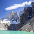 Stock Photo: Torres del Paine mountains and lake.