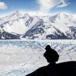 Stock Photo: Silhouette of a person admiring beautiful view of glacier and mo