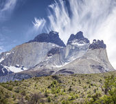 Incredible rock formation of Los Cuernos in Chile.  — Photo