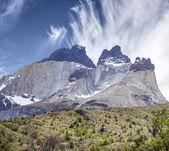 Incredible rock formation of Los Cuernos in Chile.  — Stock Photo
