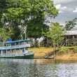 Wooden boat on the Amazon river, Brazil. — Stock Photo