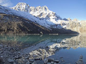 Beautiful mountain view of Everest Region with lake, Nepal. — Stock Photo
