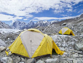 Tents in Everest Base Camp, cloudy day, Nepal. — Stock Photo