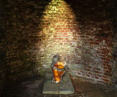 Old broken toilet brick cabin — Stock Photo