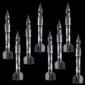 Old rusty bullets in shape of rocket — Stock Photo