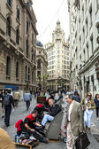 Busy street in the city center — Stock Photo