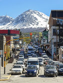 Traffic jam on street of Ushuaia. — Stock Photo