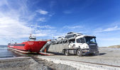 Lorry departing ferry. — Stock Photo