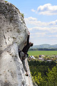 Man climbing natural difficult rocky wall. — Stock Photo