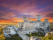 Beautiful sunset over Ogrodzieniec castle, Poland.  — Stock Photo