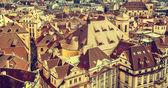 Roofs of Prague, Czech Republic, vintage retro style. — Stock Photo