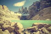 Torres del Paine mountains and lake in Chile, Patagonia, vintage — Stock Photo